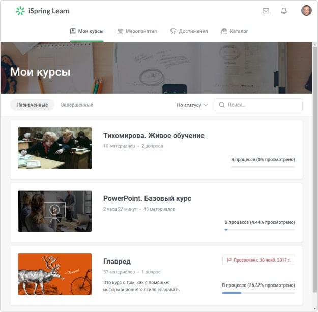 Портал пользователя в iSpring Learn
