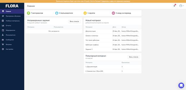Личный кабинет платформы для онлайн-курсов